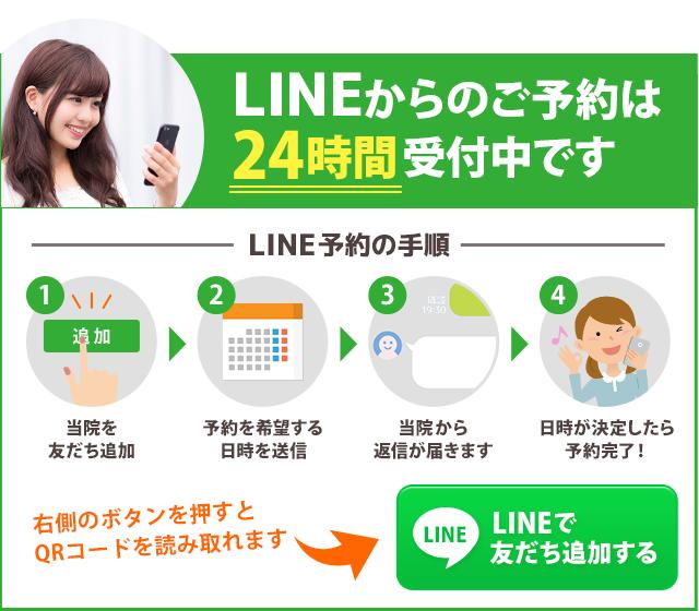 LINEからのご予約は 24時間受付中です。まずはここを押して当院を友だち追加してください